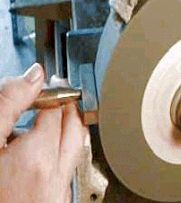 Demonstration of squaring a grinding wheel