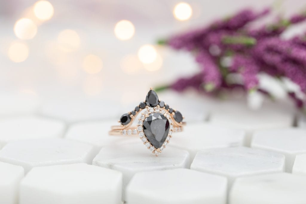 black diamond engagement ring in rose gold