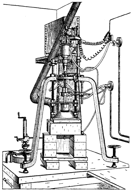 "August Verneuil used a device like the one depicted here to synthesize rubies in the late 19th century. The principles behind the Verneuil technique are still used in modern crystal growth technology. ""Verneuil Torch Sketch."" Public Domain."