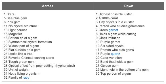 Gemstone Crossword Puzzle Collection