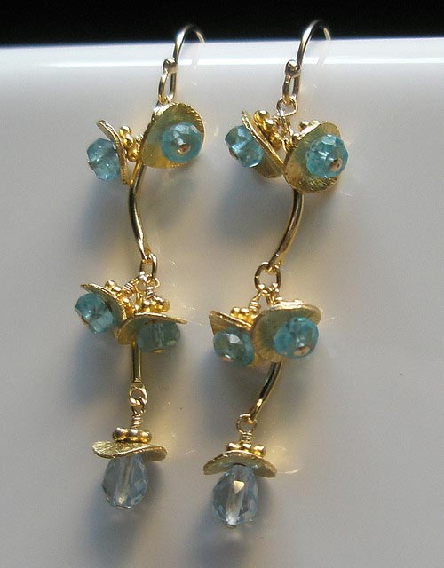 "These earrings feature sky blue topaz briolettes and neon blue apatite rondelles. Though these gemstone colors may all be shades of blue, topaz and apatite have refractive index ranges that don't overlap. A refractometer should be able to distinguish these species. ""Starlite Jewelry Designs ~ Briolette Earrings ~ Jewelry Design"" by Naomi King is licensed under CC By 2.0"
