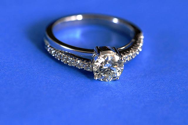 diamond engagement ring - wearing gems