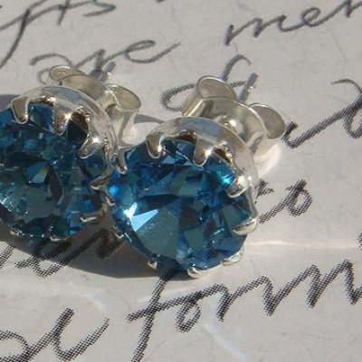 """Swarovski Earrings Blue Zircon Silver with Prongs"" by Maria Panayiotou is licensed under CC By-ND 2.0"
