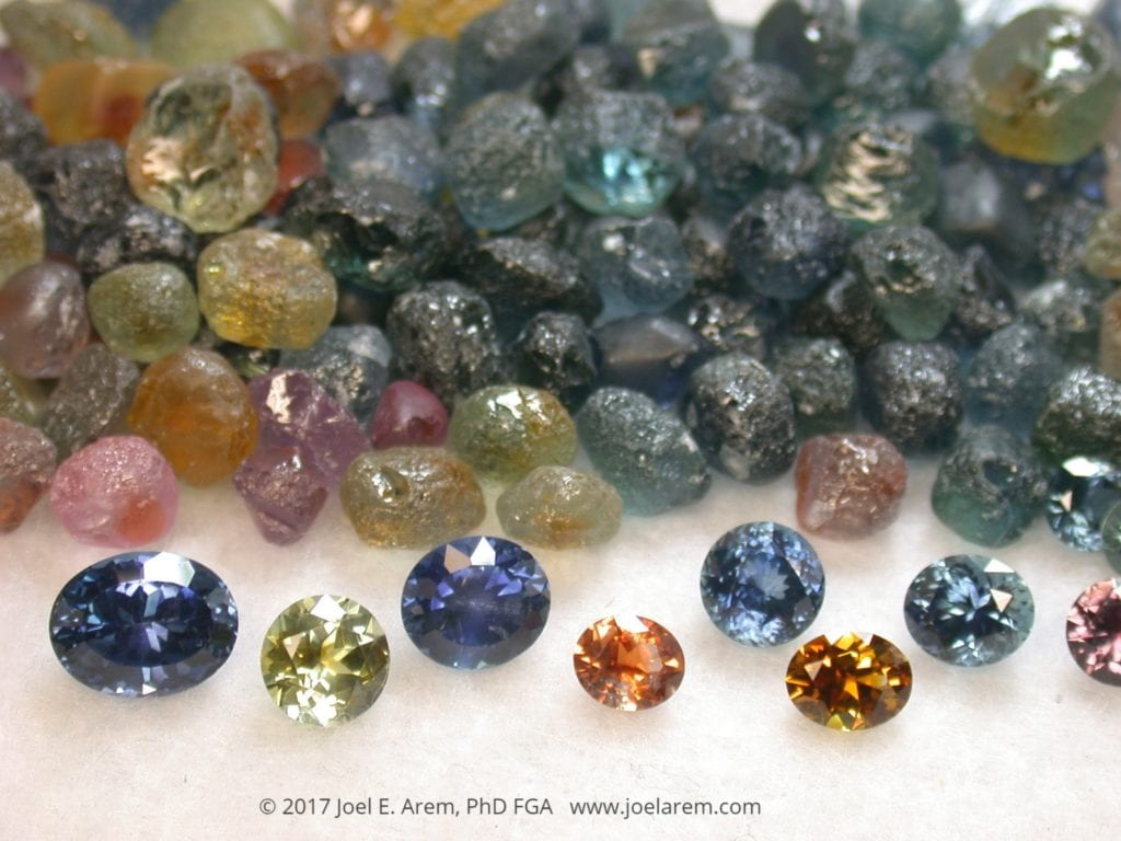 rough sapphire stones and finished gems - Rock Creek, Montana