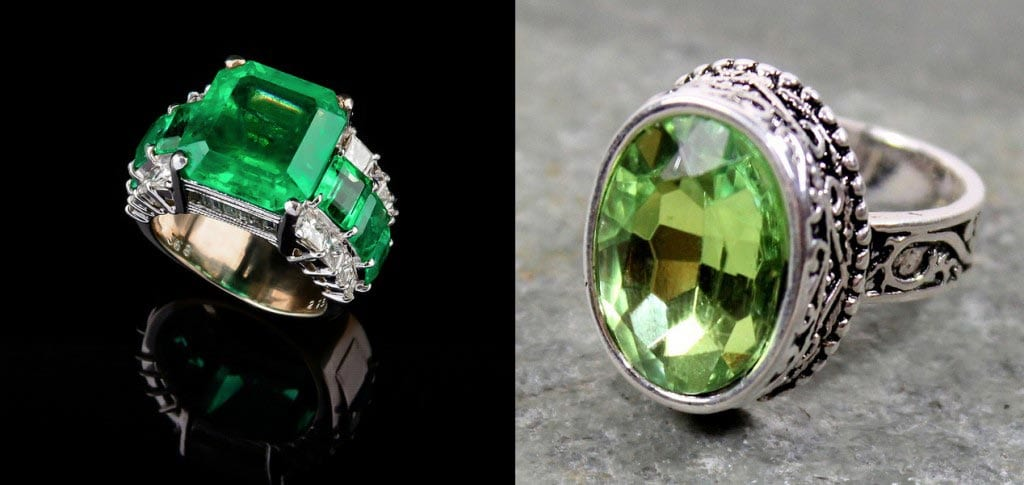 "(Left) ""Emerald Ring"" by Artemas Liu is licensed under CC by 2.0. (Right) ""Peridot Ring"" by topzhang is licensed under CC By 2.0. (Montage assembled for comparison purposes)."