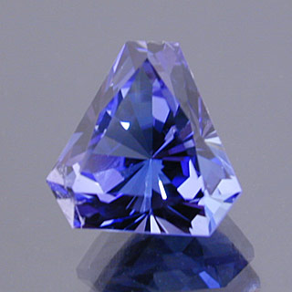 """Tanzanite."" Fancy, elongated Barion triangle cut. ©Dan Stairs Custom Gemstones. Used with permission."