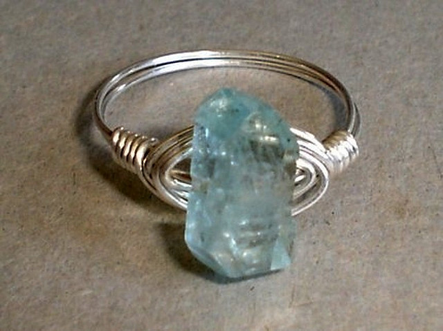 """Blue Sky - Nugget Aquamarine Sterling Silver Wire Wrapped Ring"" by Natalia Photos is licensed under CC By-SA 2.0"