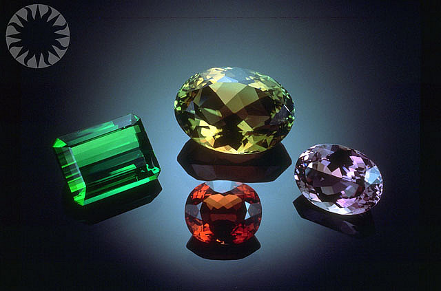 "A variety of faceted tourmaline on display at the Smithsonian National Museum of Natural History. ""Tourmaline or Elbaite"" by Public.Resource.Org is licensed under CC By 2.0"