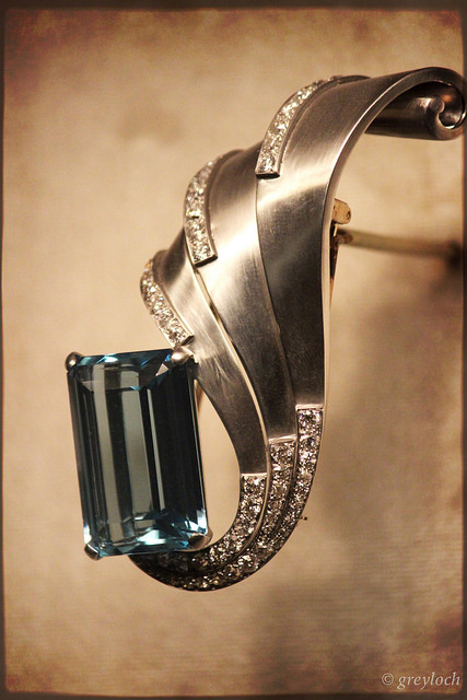 """Aquamarine and Diamond Platinum brooch"" by greyloch is CC By-SA 2.0"