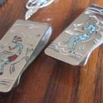 "You can work harden a sterling silver money clip to restore its spring.  A clip without the proper amount of ""springiness"" won't hold money as it should. ""Silver Kokopeli money clips for Craig and Glenn"" by Heather Cheryl is licensed under CC By 2.0"