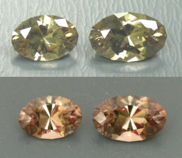 "Diaspore is difficult to facet because of its inclusions, crystal shape, and cleavage. The expertly cut large and relatively clear stones shown here change color from a celery green to a pinkish to beige champagne. An extensive marketing campaign has made diaspore one of the most popular of Turkey's gemstones, though it's more frequently referred to by a trademarked name. ""Two Diaspore Ovals - 2.09cts and 3.17cts."" © All That Glitters. Used with permission."