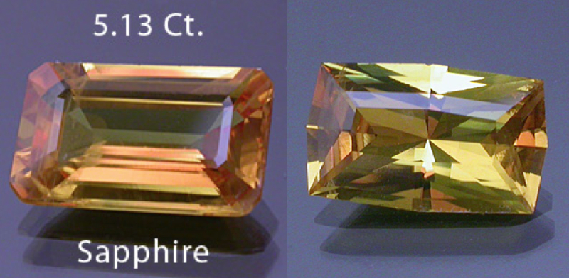 "The 5.13 ct. emerald-cut sapphire on the left had large, visible flaws on one end. This gem was custom recut by Daniel Stairs into an eye-clean 3.26 ct. fancy radiant cushion baguette, shown on the right. ""Yellow Sapphire – Before and After."" © Dan Stairs Custom Gemstones. Used with permission. (Enlarged to show detail. Montage assembled for comparison)."
