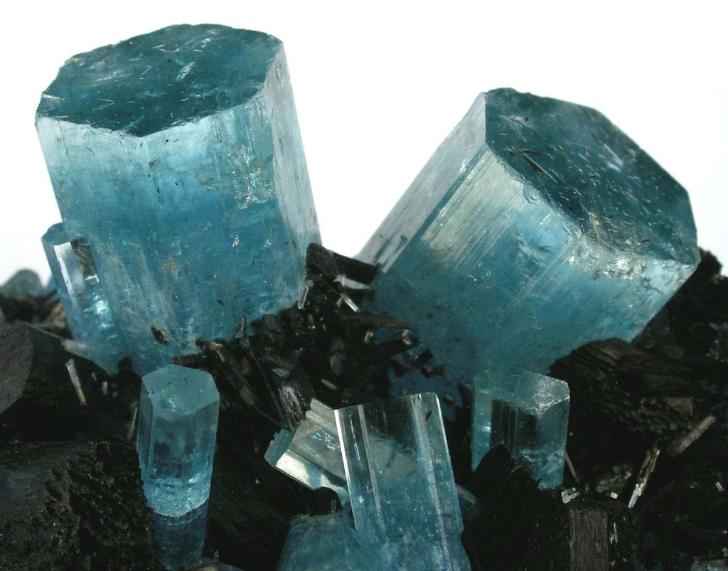 """Aquamarine with Schorl."" © Rob Lavinsky, www.iRocks.com. Used with permission."