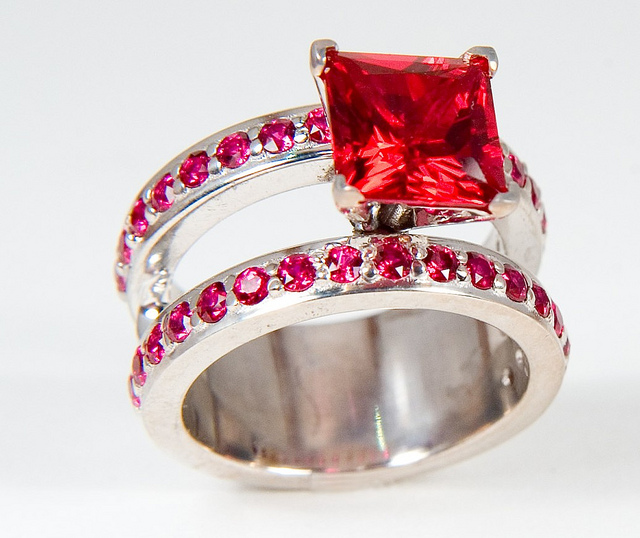 """5-carat Ruby Engagement/Wedding Ring"" by 3BL Media is licensed under CC By 2.0"