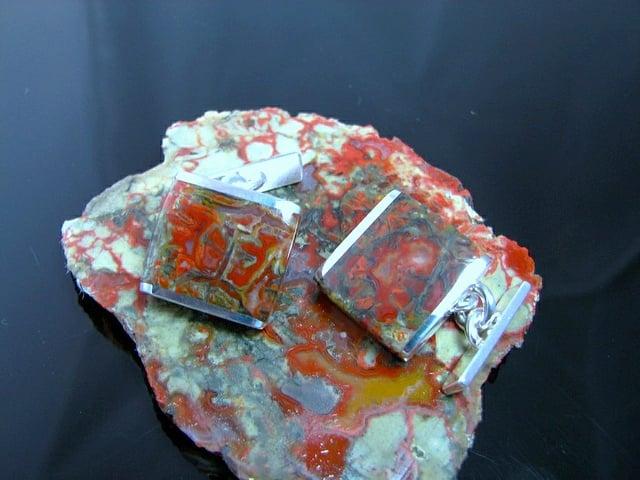 gemstone doublets - coprolite inlays