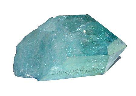 "Aqua aura quartz is created by coating a quartz piece with gold through a vapor deposition process. ""Aqua Aura Quartz Crystal 2"" by mangovall is licensed under CC By-ND 2.0"