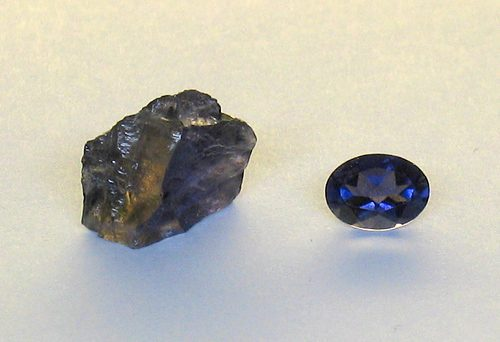 iolite - rough and cut