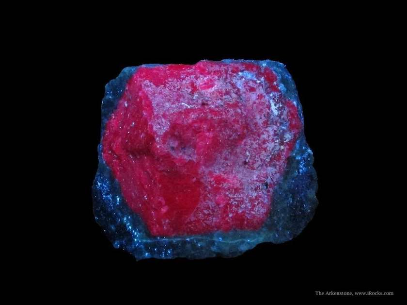 ruby in zoisite matrix, ultraviolet light - Tanzania