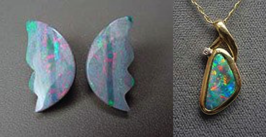 gemstone doublets - unset and set opals