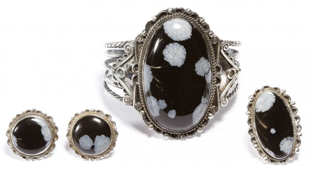 Jewelry set - Snowflake obsidians and sterling silver