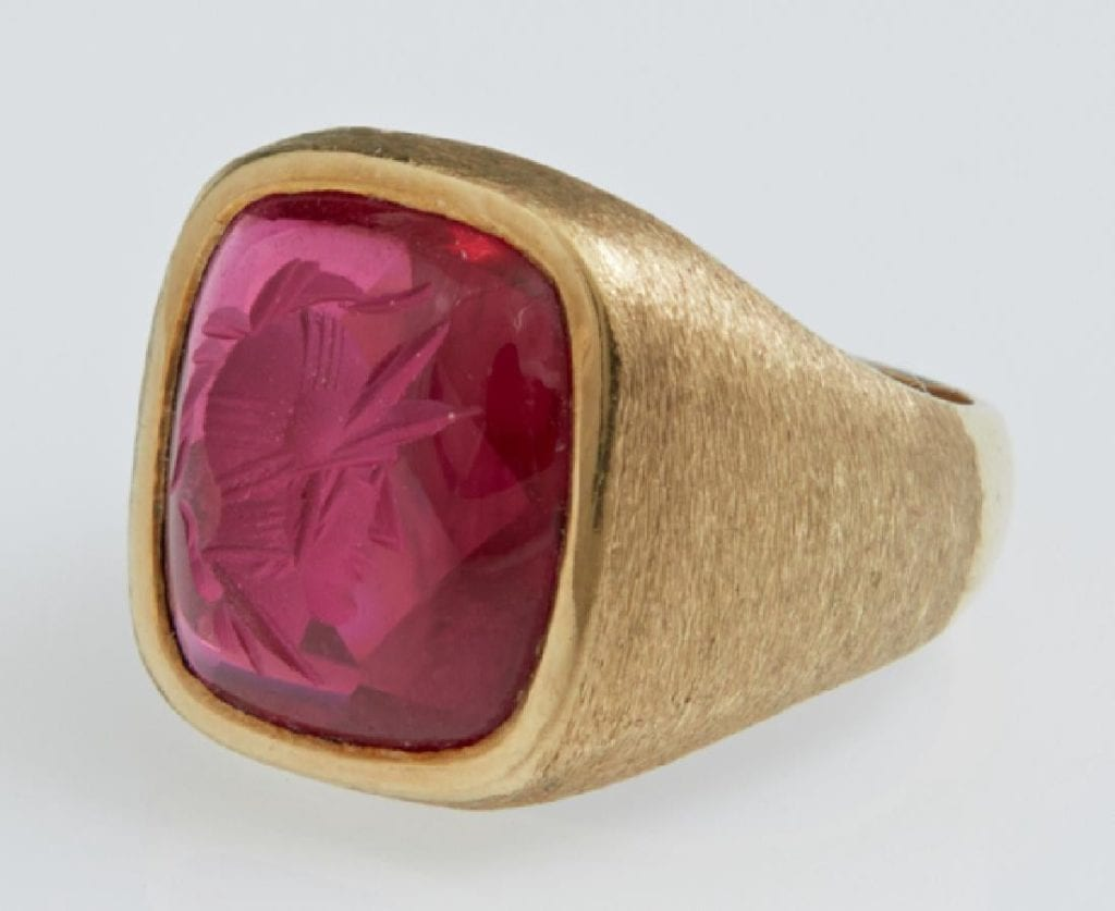 antique synthetic ruby ring