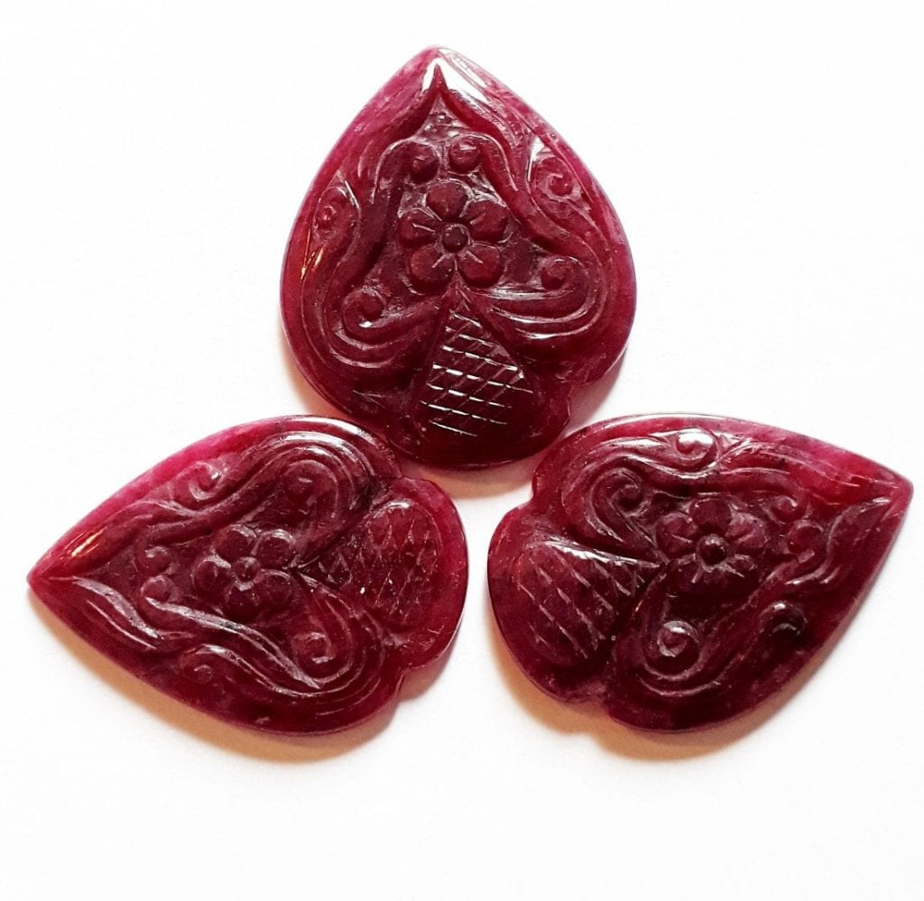 carved rubies - Myanmar