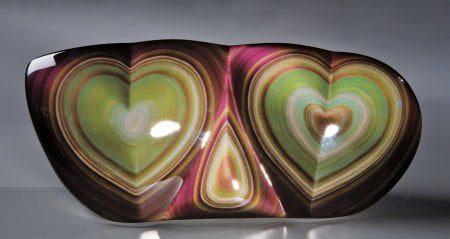 double heart rainbow obsidian sculpture