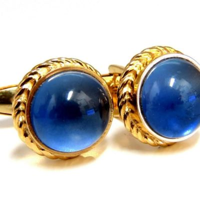 gold cufflinks with synthetic sapphires