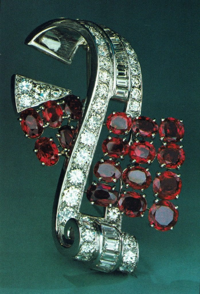 Platinum pin with Burmese Rubies and Diamonds