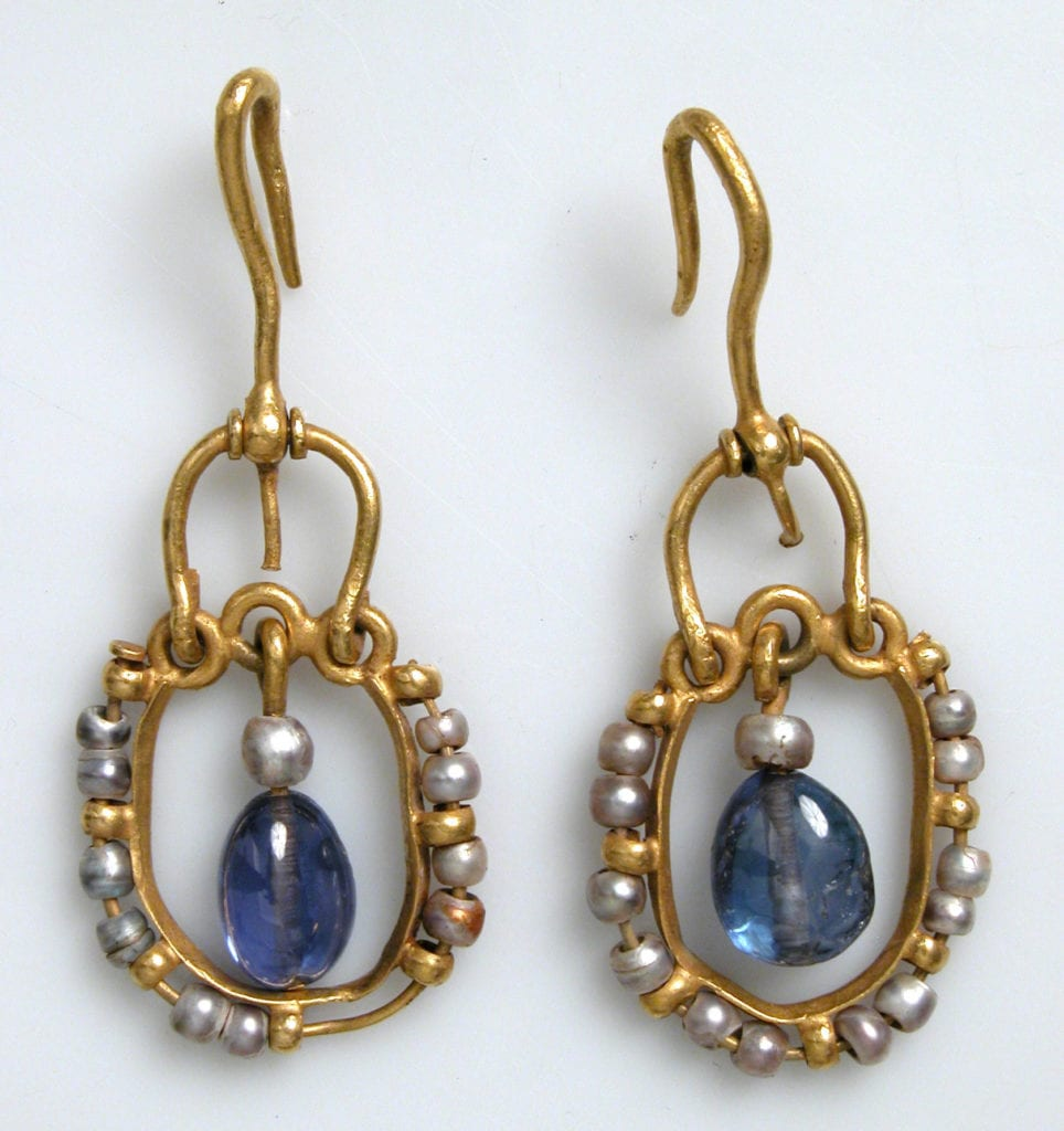 gold, pearl, and sapphire earrings - Byzantine Empire