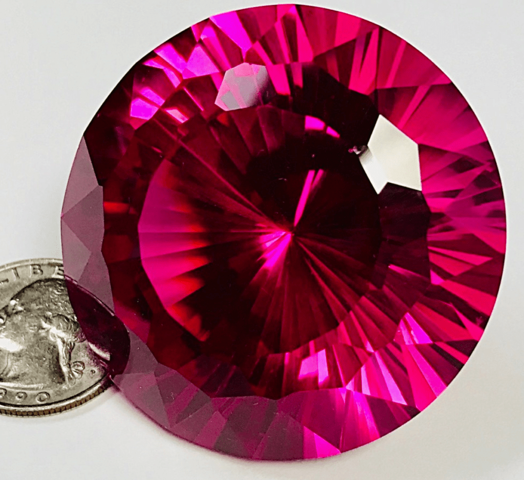 faceted synthetic ruby