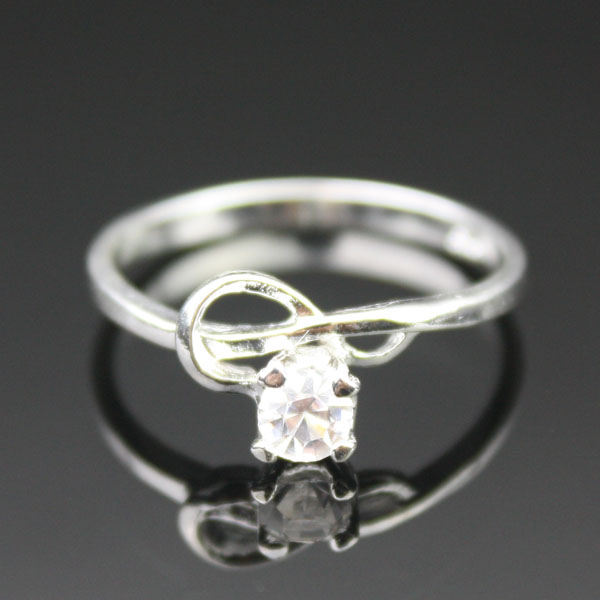 colorless zircon ring
