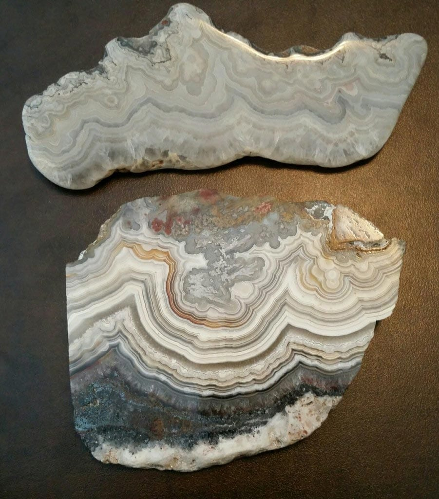 "Lace agates with red bands are considered rare. ""Two Missouri Lace Agates."" © Cara Williams, Stone Group Labs. Used with permission."