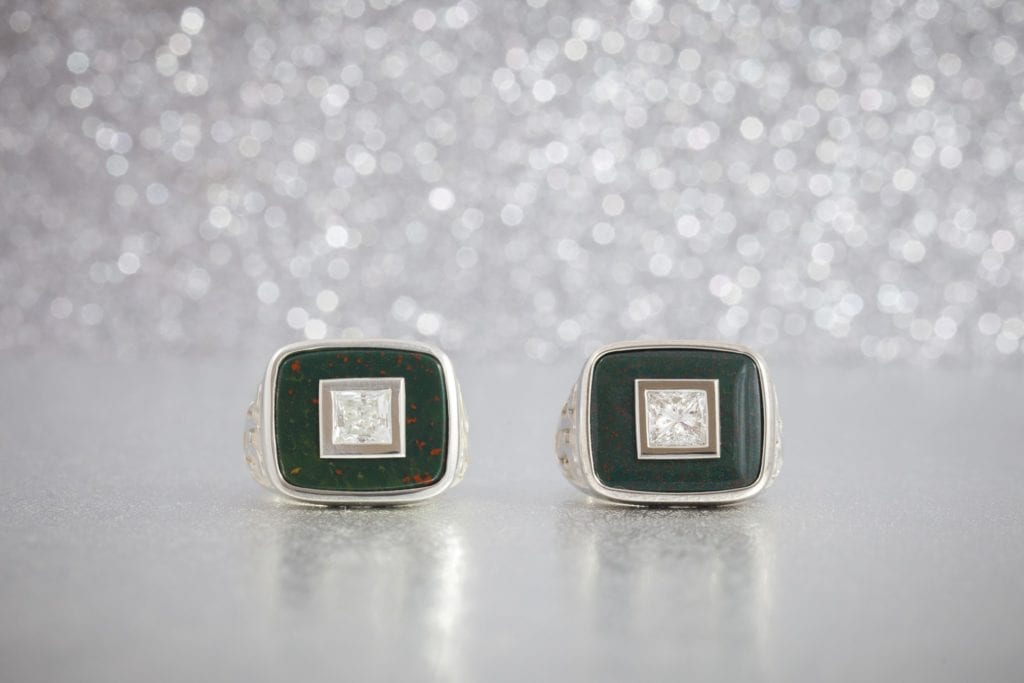 bloodstone and diamond signet rings