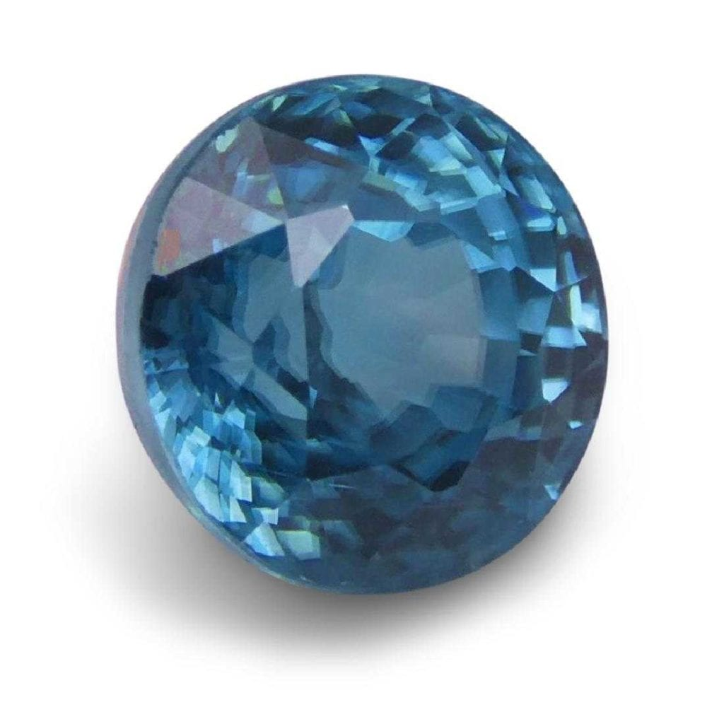 blue zircon with birefringent fuzziness