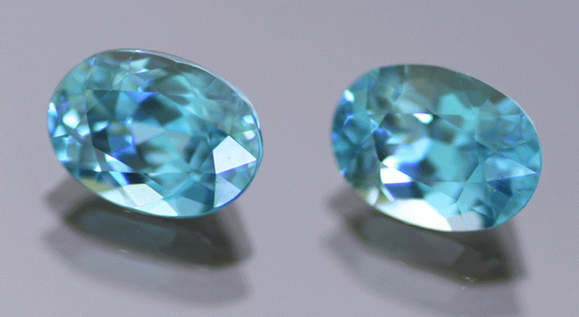 blue oval brilliant cut zircon gems - Cambodia