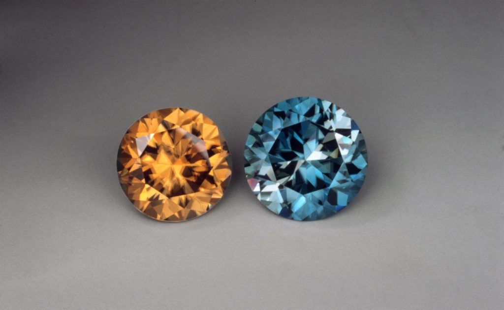 zircon gems, blue and yellow