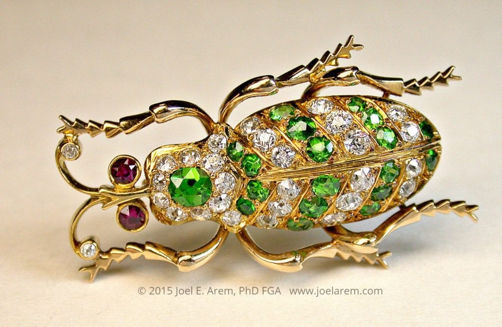 Antique demantoid beetle pin
