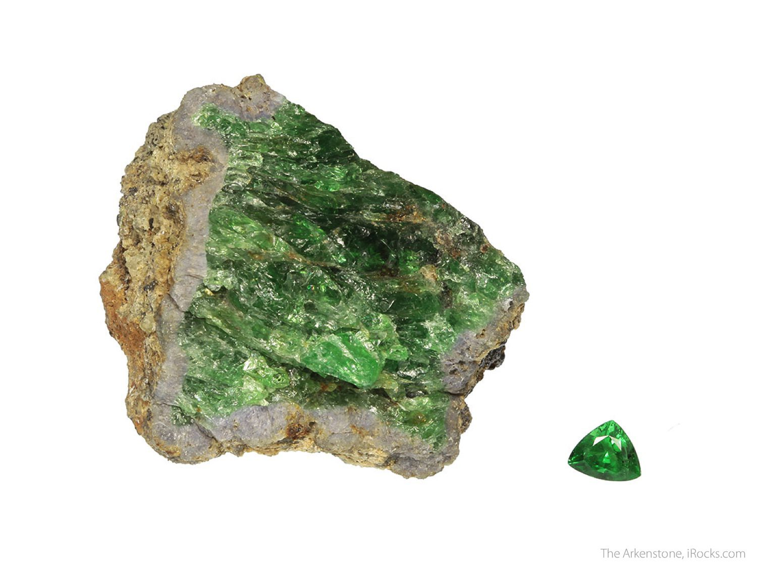 tsavorite rough and cut set - Kenya