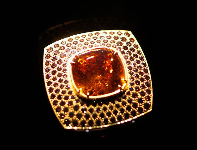 mandarin garnet and cognac diamond ring