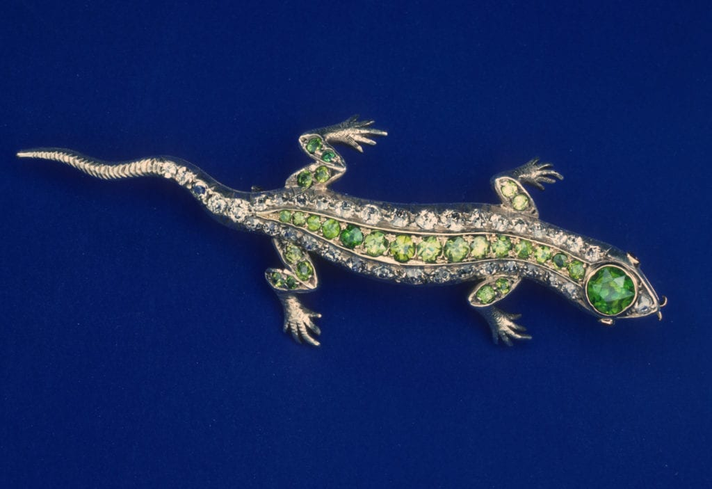 salamander pin with diamonds and demantoids