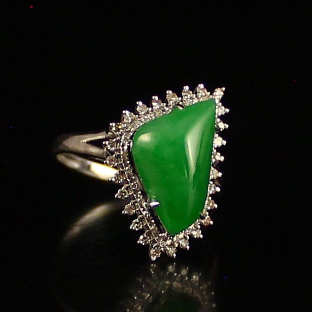 jadeite, diamond, and white gold ring