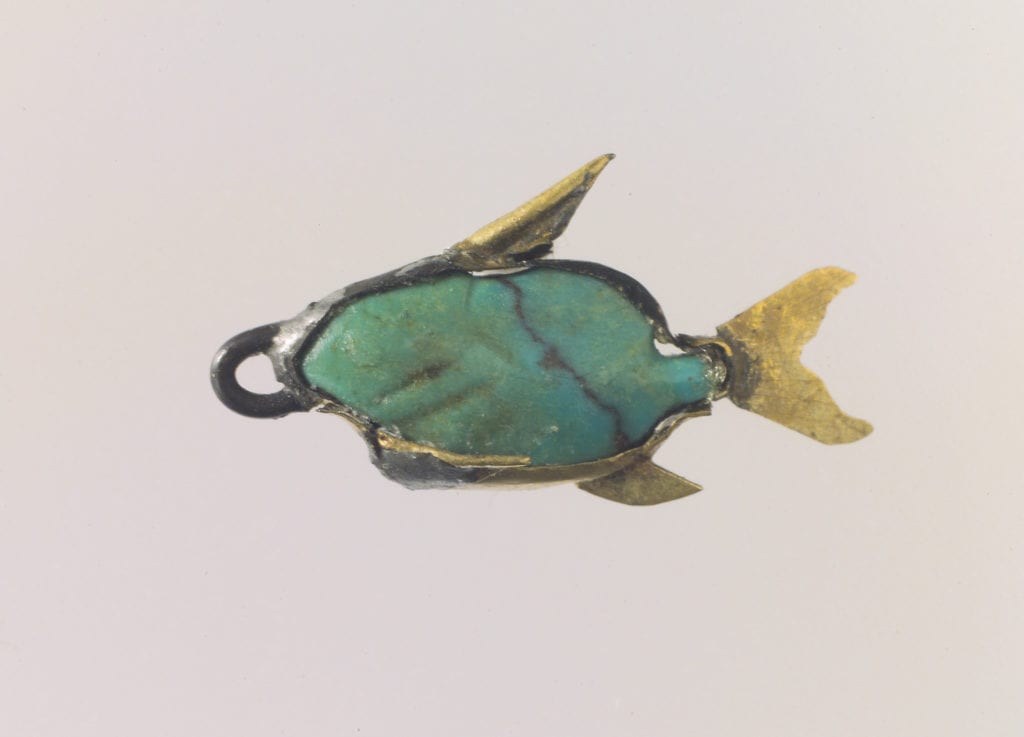 turquoise and gold pendant - Ancient Egypt