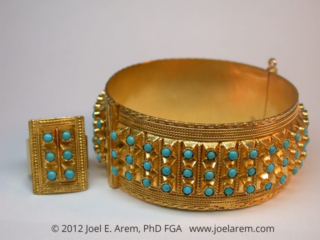 Turquoise bracelet and ring - Iran
