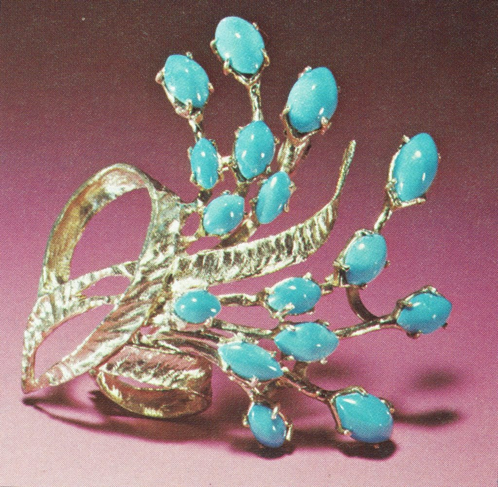 Turquoise cabochons in pin - Iran
