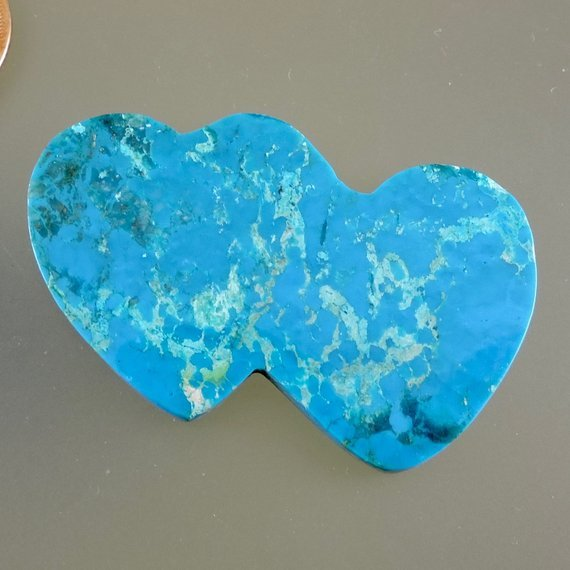 double-heart turquoise cabochon - Mexico