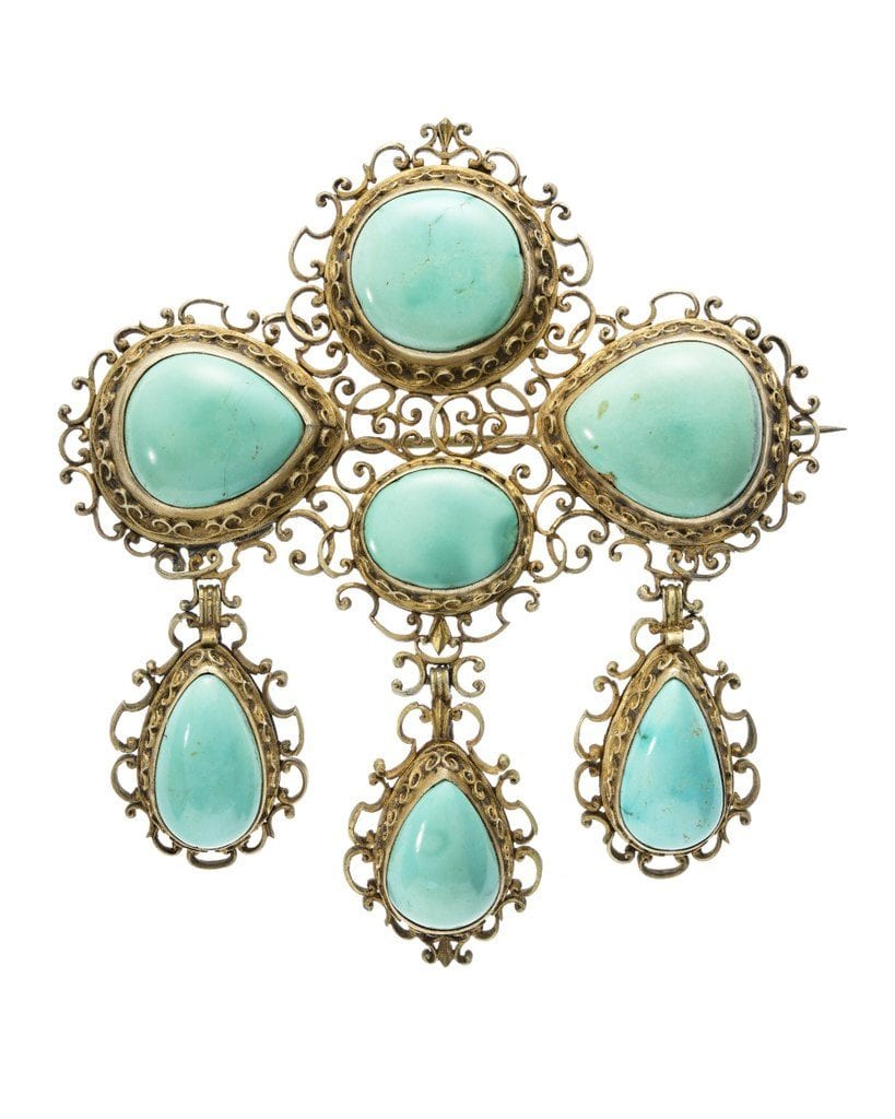 brooch with turquoise - German, 19th century