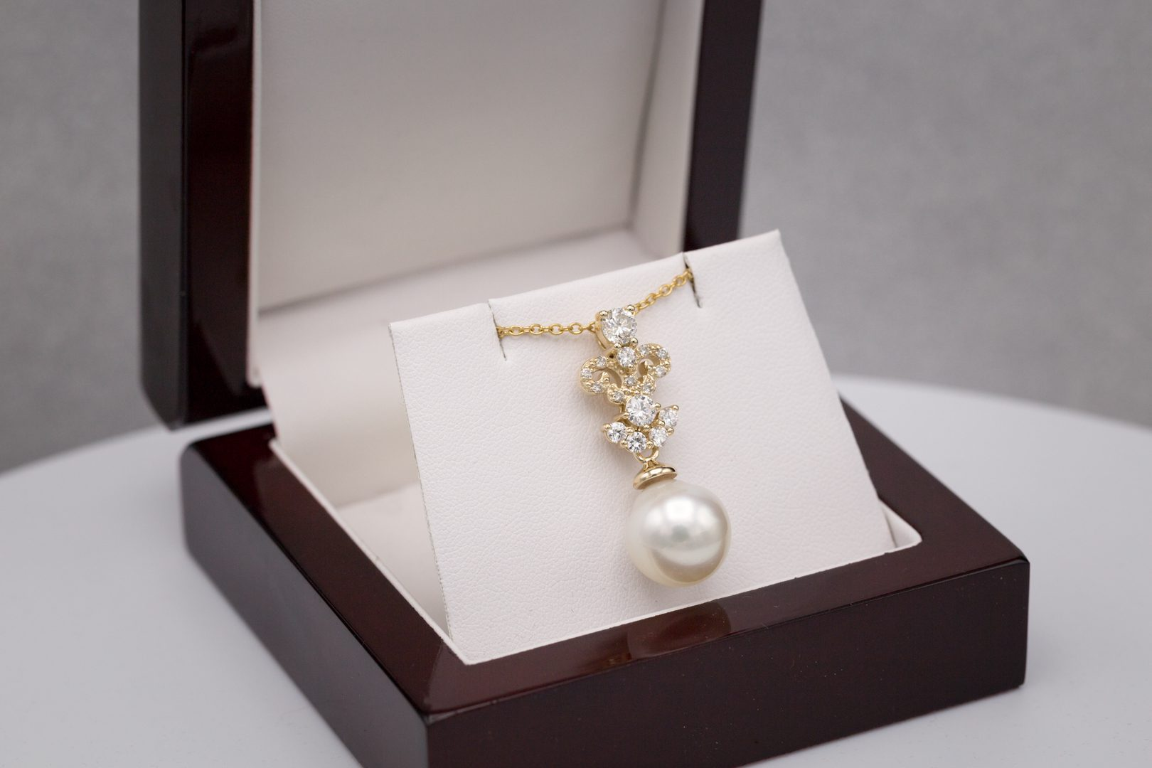 pearl pendant in jewelry box
