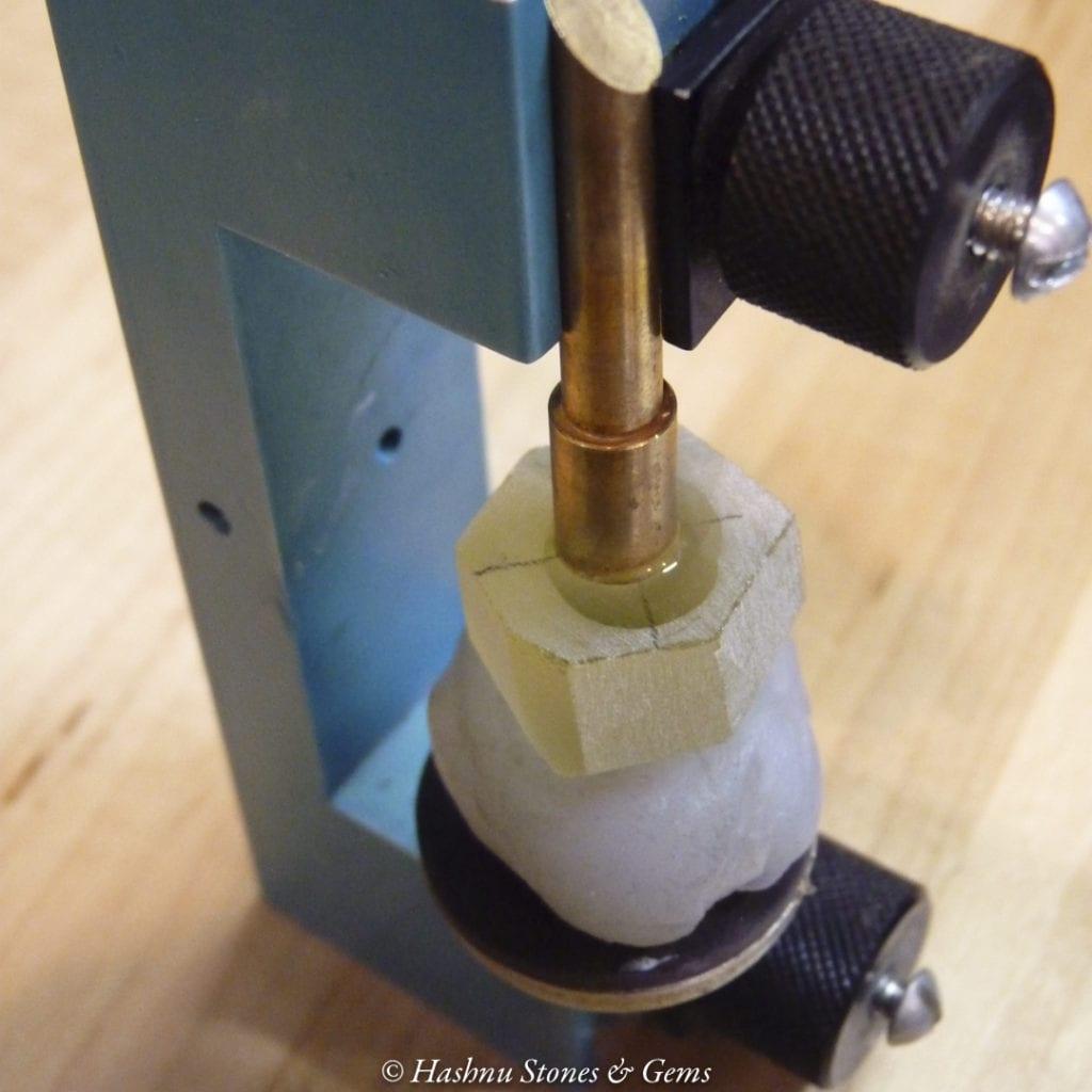 faceting process - dopped quartz