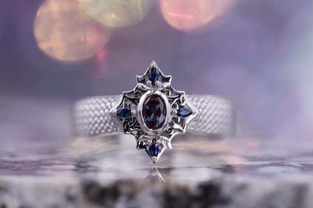 vintage-inspired ring with lab-created alexandrite